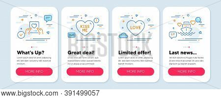 Set Of Love Icons, Such As Love, Kiss Me, Love Mail Symbols. Mobile App Mockup Banners. Honeymoon Cr