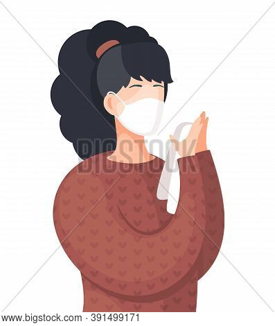 Young Woman Wearing Face Medical Mask Standing And Holds Handkerchief. Viral Pandemic. Coronavirus 2