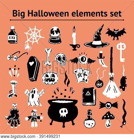 Halloween Elements Doodle Simple Set Of Handdrawing Magical Elements. Witch Hat, Bat, Skull, Pumpkin