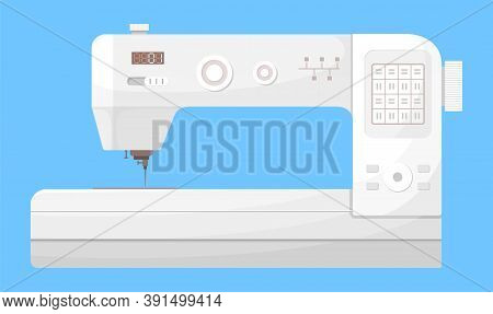 Isolated Vector Icon Of White Sewing Machine At Blue Background. Equipment Or Tool For Tailor Or Sew