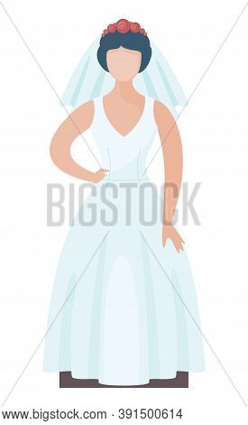 Faceless Cartoon Vector Character In Flat Style. Fashion Bride Wearing Stylish Wedding Dress With Ro