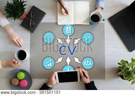 Send Cv Curriculum Vitae Job Search Recruitment Concept On Desktop.