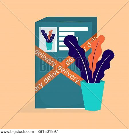 Box With Delivery Of The Paid Online Product. Online Shopping, Delivery Of A Flower In A Large Box.