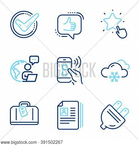 Business Icons Set. Included Icon As Hand Baggage, Bitcoin Pay, Confirmed Signs. Electric Plug, Rank
