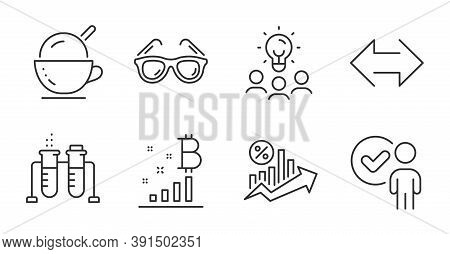 Ice Cream, Bitcoin Graph And Sunglasses Line Icons Set. Verification Person, Loan Percent And Sync S