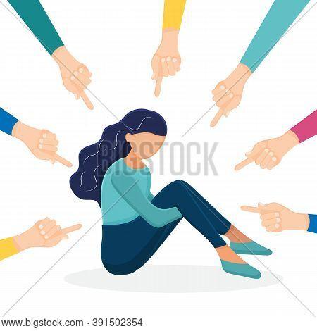 Sad Teenage Girl Sitting On Floor Surrounded By Classmates Mocking Him, Scoffing. Problem Of Mockery