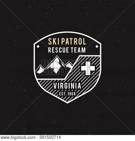 Winter Ski Patrol, Rescue Team Label With Mountains. Vintage Extreme Adventure Badge. Outdoors Logo