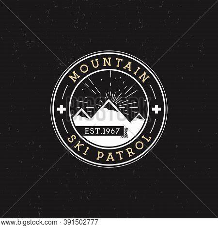 Camping Label. Vintage Mountain Ski Patrol Round Patch. Outdoor Adventure Logo Design. Travel Retro