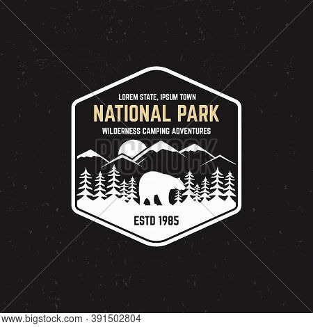 Stamp For National Park, Outdoor Camp. Tourism Hipster Style Patch, Badge. Expedition Emblem. Winter