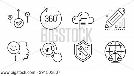 Graph Chart, Good Mood And Edit Statistics Line Icons Set. Spanner, 360 Degrees And File Storage Sig