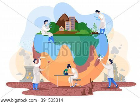 Chemists Make Experiments To Study The State And Degree Of Pollution Of The Planet. Scientists Condu
