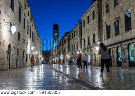 Dubrovnik, Croatia - Jun 20, 2020: Illuminated Stradun Street At Night, The Unesco World Heritage Of