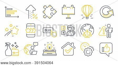 Set Of Business Icons, Such As Star, Cleanser Spray, Like Symbols. Road Banner, Time Management, Air