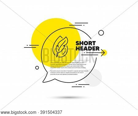 Hypoallergenic Tested Line Icon. Speech Bubble Vector Concept. Feather Sign. No Synthetic Symbol. Hy