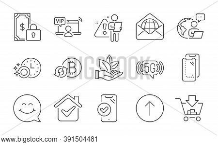 Organic Product, 5g Wifi And Smartphone Glass Line Icons Set. Swipe Up, Approved Phone And Private P