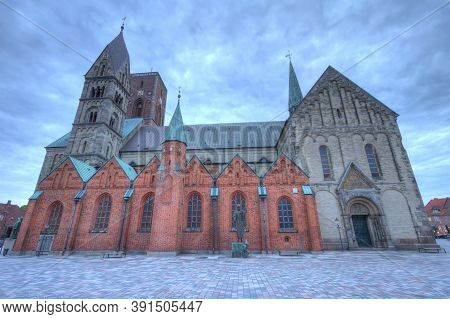 Medieval Cathedral, Church Of Our Lady In Ribe By Twilight, Denmark - Hdr