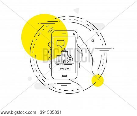 Skyscraper Buildings Line Icon. Mobile Phone Vector Button. City Architecture With Tree Sign. Town S