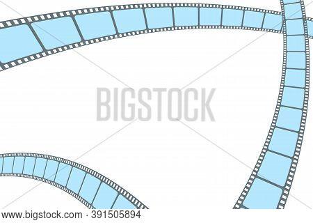 Blue Film Strip Cinema Isolated On White Background. Modern Cinema Background. Festive Design Film F