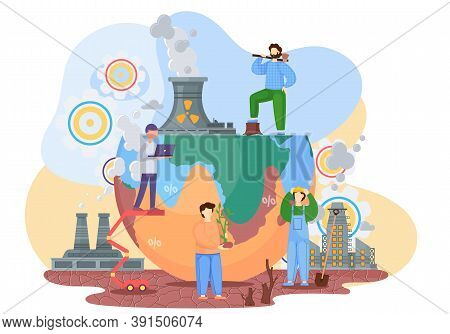 Effects Of Human Activities. Illustration Of The Air Pollution Theme, Problems With Soil, Deforestat