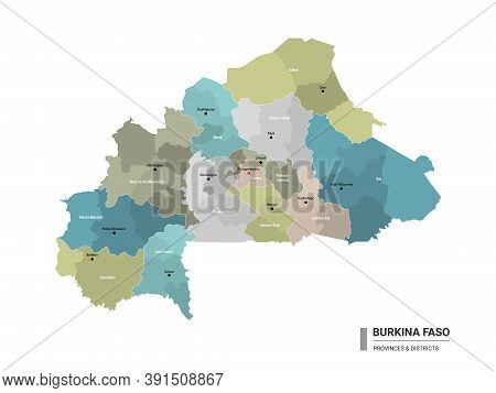 Burkina Faso Higt Detailed Map With Subdivisions. Administrative Map Of Burkina Faso With Districts