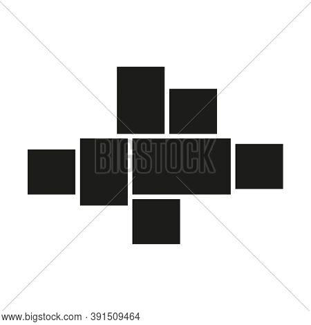 Vector Mood Board Of Seven Frames. Black Photo Collage Templates.