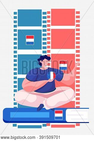 Dutch Language Courses. Vector Illustration With A Man Sitting On The Book Holding Netherlandish Wor