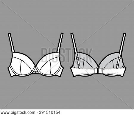 Bra Full Cup Lingerie Technical Fashion Illustration With Full Adjustable Shoulder Straps, Hook-and-