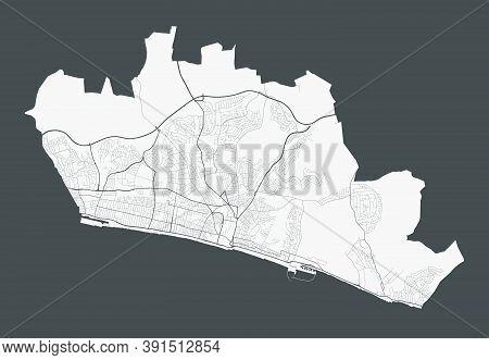 Brighton & Hove Map. Detailed Map Of Brighton & Hove City Administrative Area. Cityscape Panorama. R