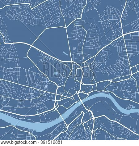 Detailed Map Of Newcastle Upon Tyne City Administrative Area. Royalty Free Vector Illustration. City