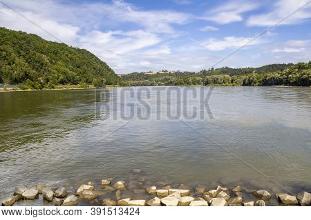 Waterside Scenery Around Passau, A Town In Lower Bavaria In Germany At Summer Time