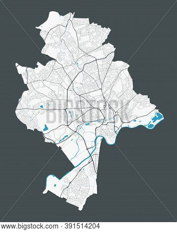 Nottingham Map. Detailed Map Of Nottingham City Administrative Area. Cityscape Panorama. Royalty Fre