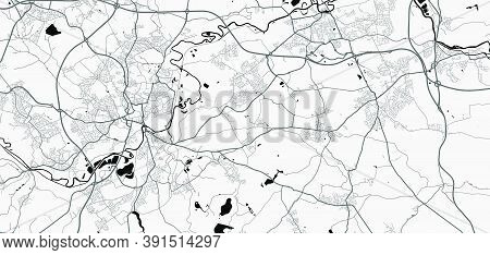 Urban City Map Of Wakefield. Vector Illustration, Wakefield Map Grayscale Art Poster. Street Map Ima