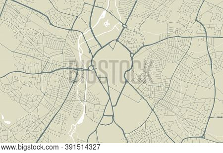 Detailed Map Of Leicester City Administrative Area. Royalty Free Vector Illustration. Cityscape Pano