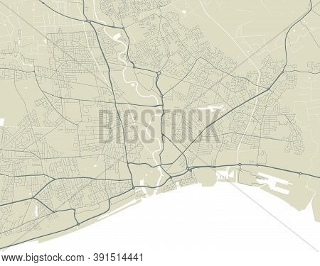 Detailed Map Of Kingston Upon Hull City Administrative Area. Royalty Free Vector Illustration. Citys