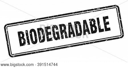 Biodegradable Stamp. Square Grunge Sign On White Background