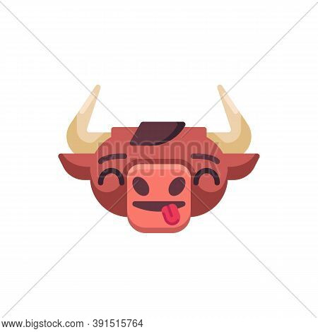 Bull Stuck Out Tongue Emoji Flat Icon, Vector Sign, Cute Ox Emotion Colorful Pictogram Isolated On W
