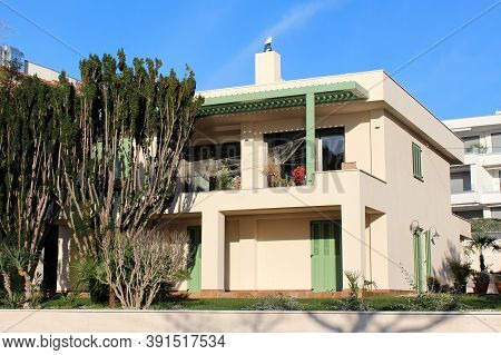 Traditional Style Newly Built Mediterranean Family House Villa With Vintage Wooden Blinds On Windows