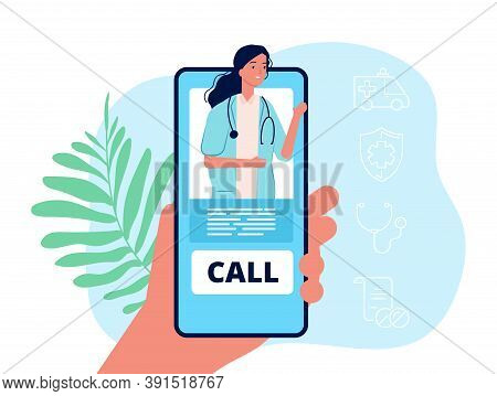 Telemedicine. Hand Holding Phone, Medical Mobile Service. Remote Doctor Consultation Vector Concept.
