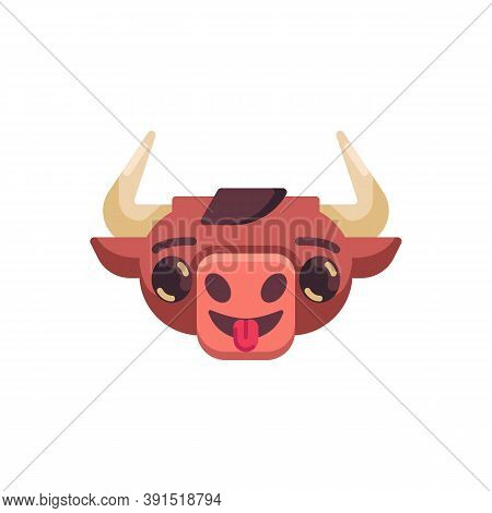 Cute Ox Emotion Flat Icon, Vector Sign, Bull Stuck Out Tongue Emoji Colorful Pictogram Isolated On W