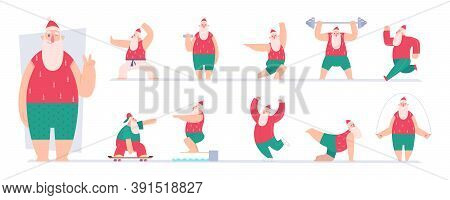 Active Santa. Sport Fairytale Characters Santa Making Exercises Gym Workout Fitness In Winter Vector