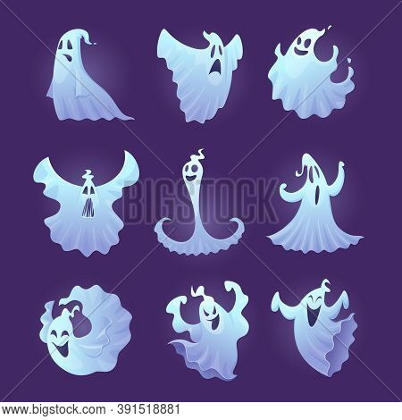 Funny Ghost. Halloween Scary Characters Little Spooky Ghosts Vector Illustrations. Ghost Spooky, Spi