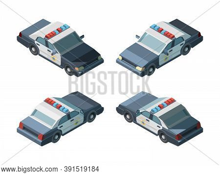 Police Car. Emergency Isometric Vehicles Different Views Police Chase Vector. Transport Emergency Po