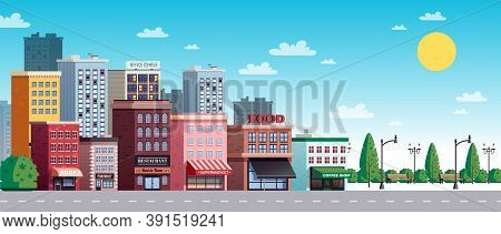 City Town Summer Sunny Day Street View With Colorful Office Buildings Houses Trees Shrubs Lanterns V