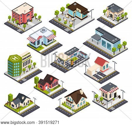 Isometric City Buildings With Road Elements, Set With Residential Houses, Hospital, Bank, School, Po
