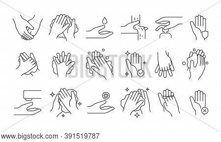 Washing Hand. Soap Pump Cleaning Hygiene Step Foam Bathroom Medical Symbols Vector Illustrations. So
