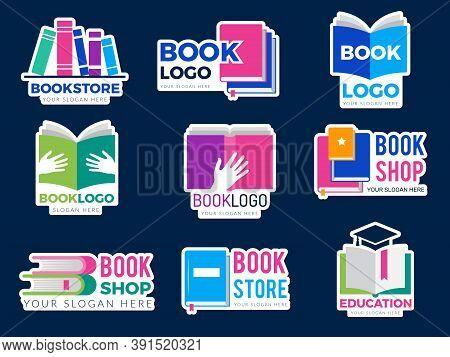Book Logo. Publishing Business Identity Symbols Stylized Graphic Pictures Of Books And Magazines Edu