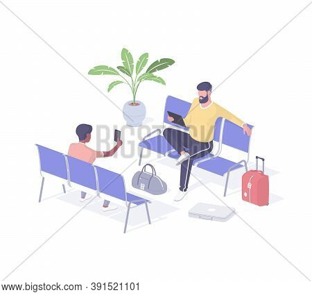 People In Public Place Using Wi Fi Isometric Vector. Male Characters With Smartphone And Tablet Conn