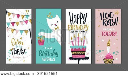 Birthday Cards. Gift Posters, Cute Greetings Banners Template. Art Typography Designs With Lettering
