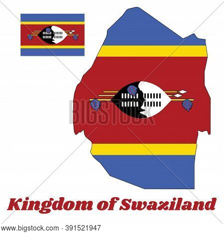 Map Outline And Flag Of Swaziland, A Horizontal Triband Of Blue, Yellow And Red With The Large Black