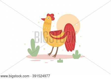 A Funny Cartoon Rooster Walks. Cute Poultry Or Poultry. Picture For The Design Of A Children's Book,
